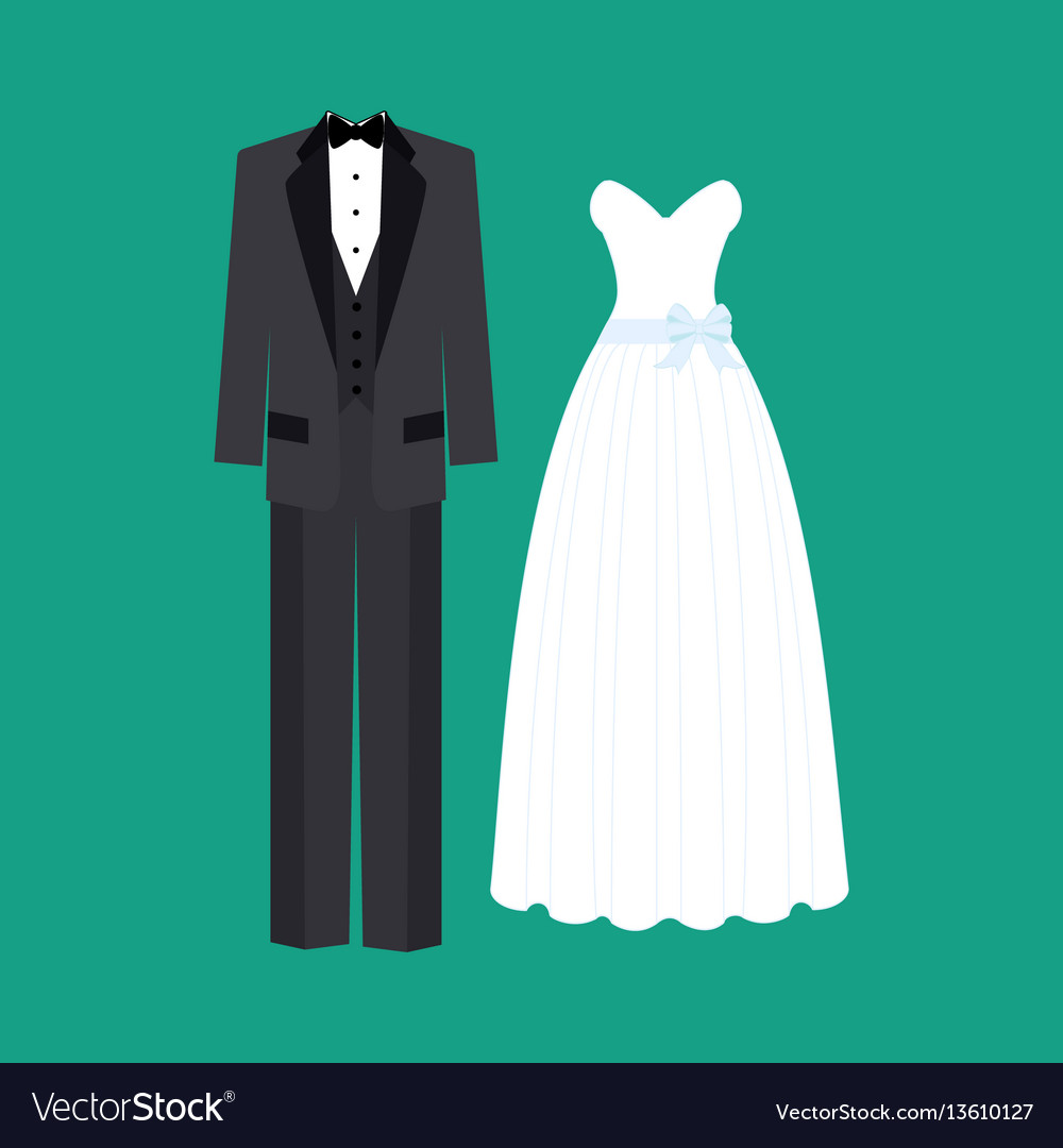 Bride And Broom Wedding Dress Vector Image