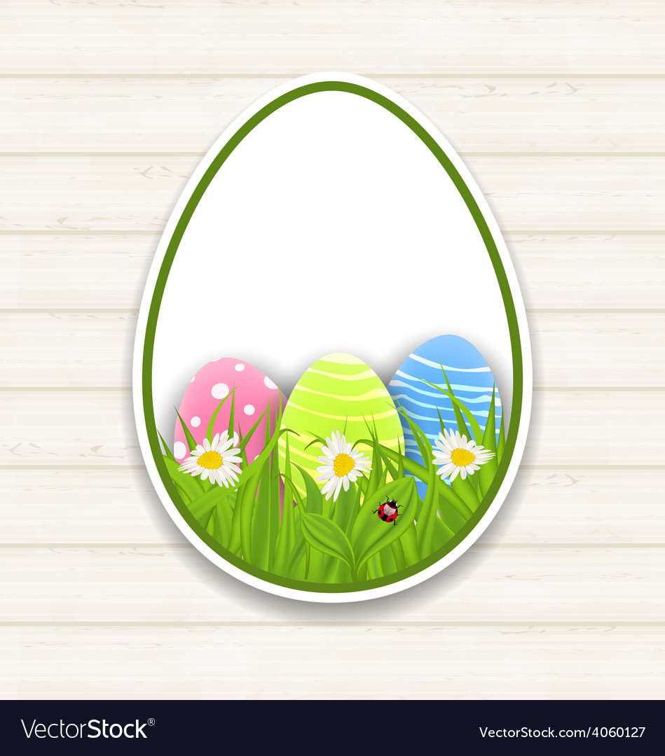 Easter paper sticker eggs with green grass and