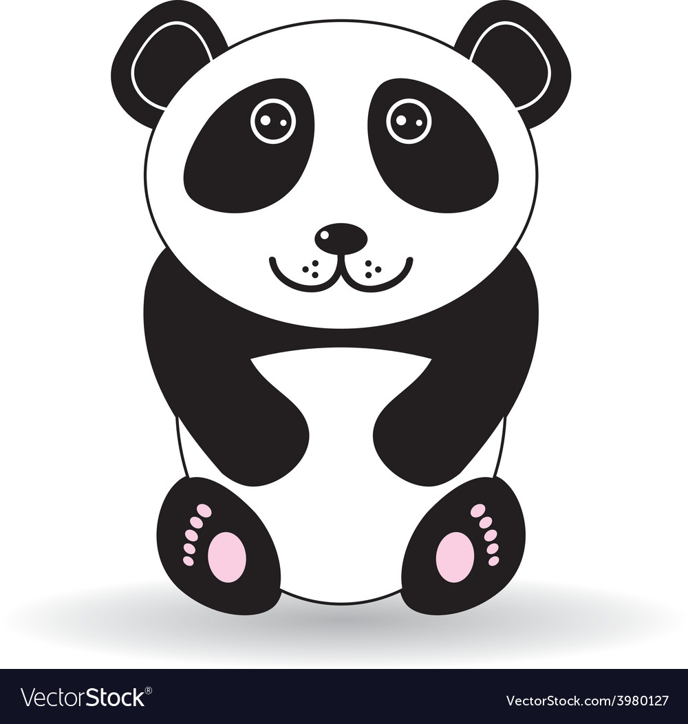 Funny panda on a white background