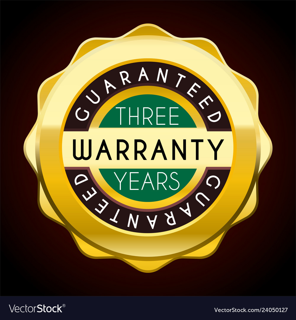 One year warranty golden badge guarantee label