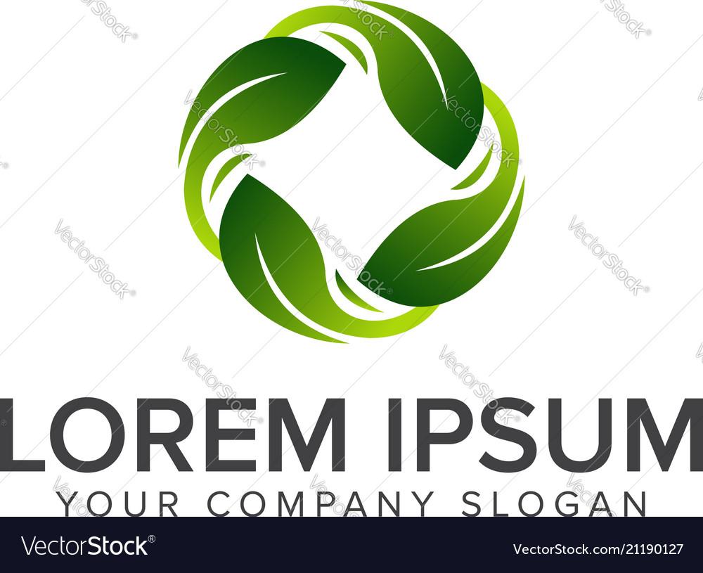 Round leaf logo natural logos concept design