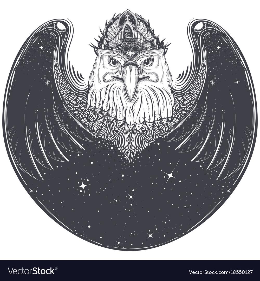 Sea eagle head with pagan runic symbols