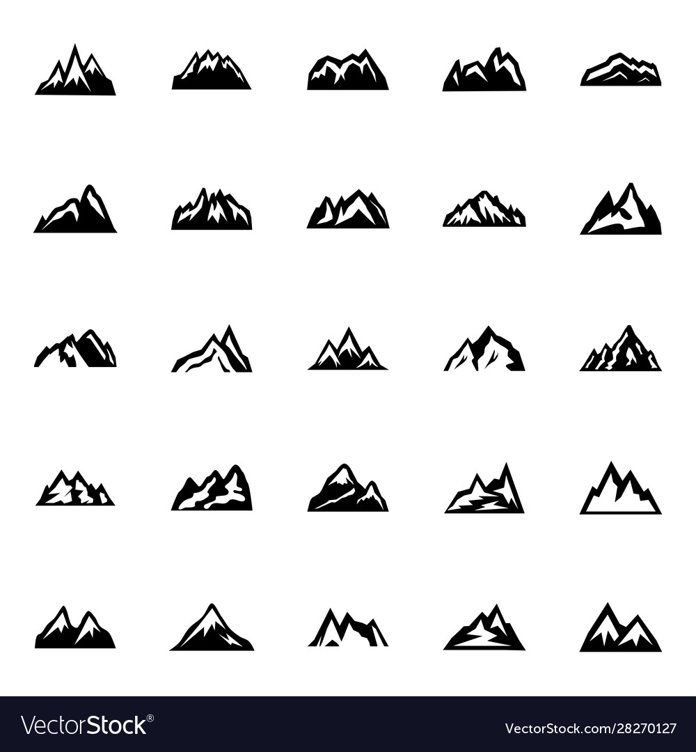 Silhouette mountain in flat style icon set