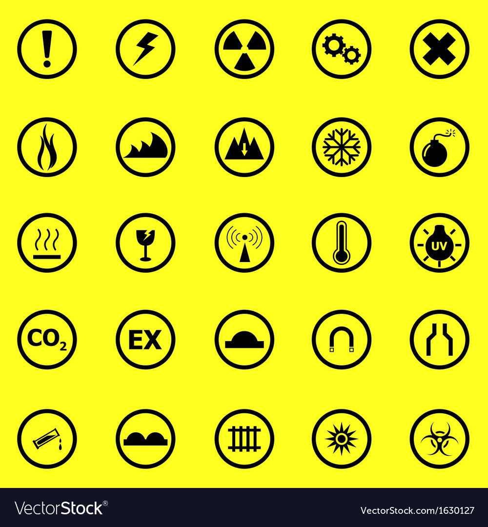 Warning sign icons on yellow background vector image