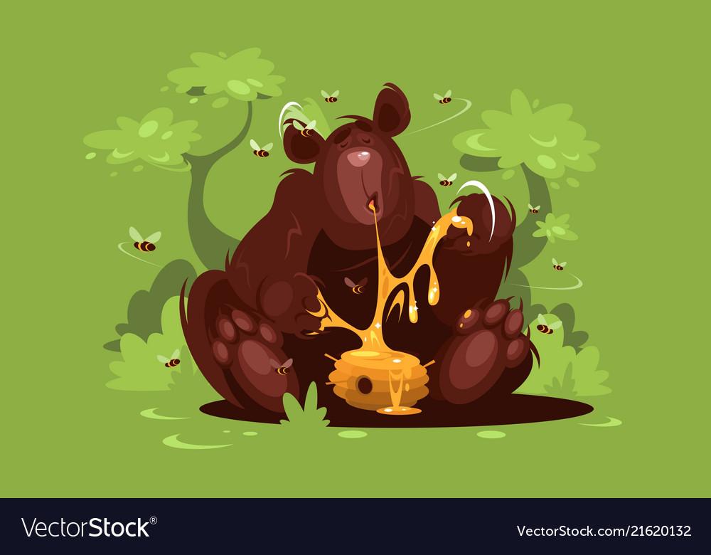 Brown bear eat sweet honey