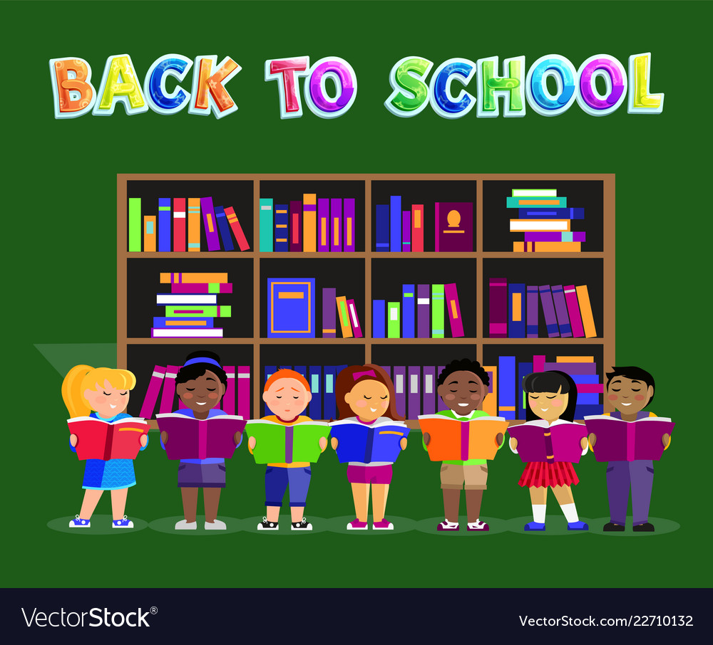 Children with books back to school poster