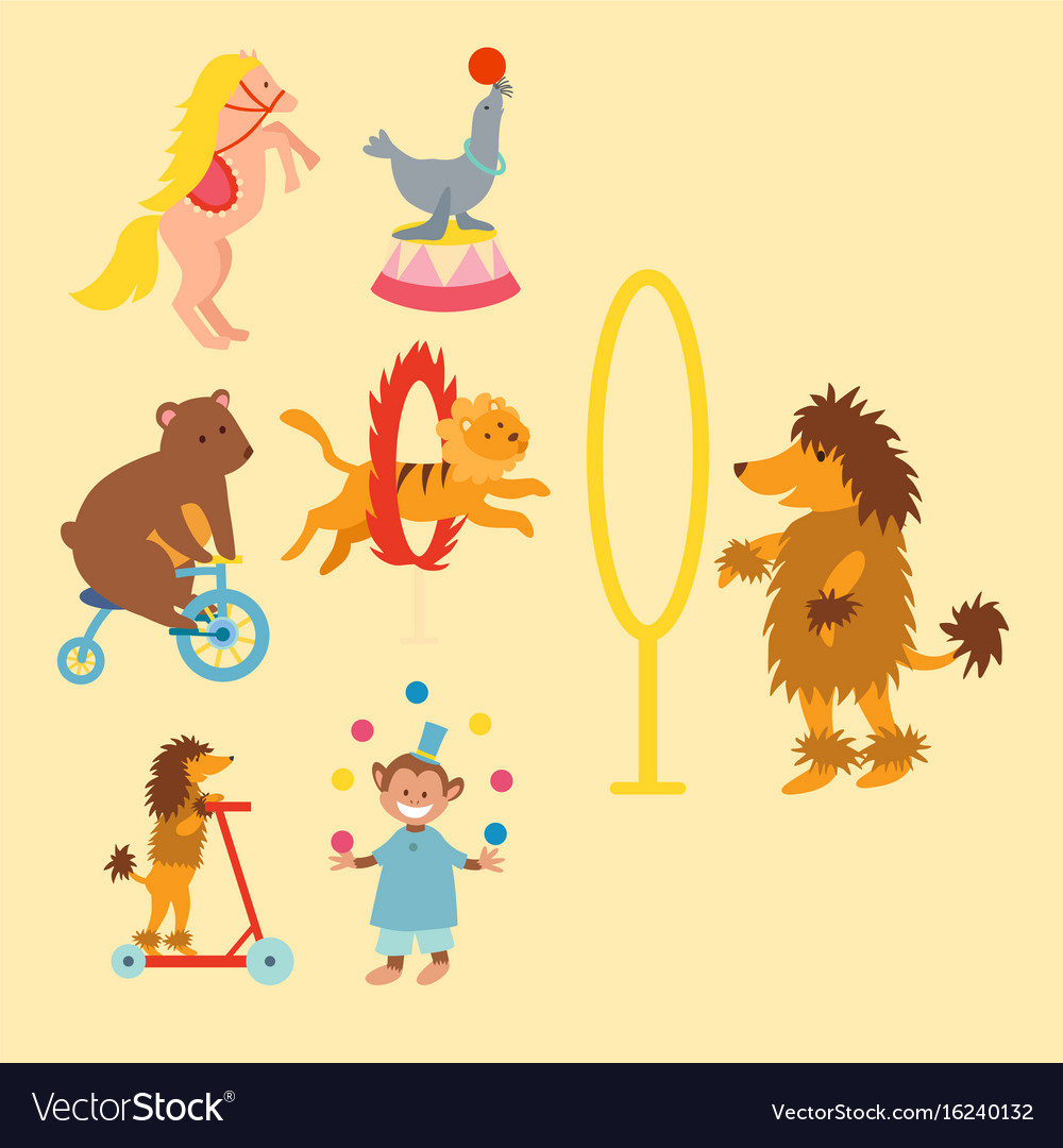 Circus funny animals set of icons cheerful