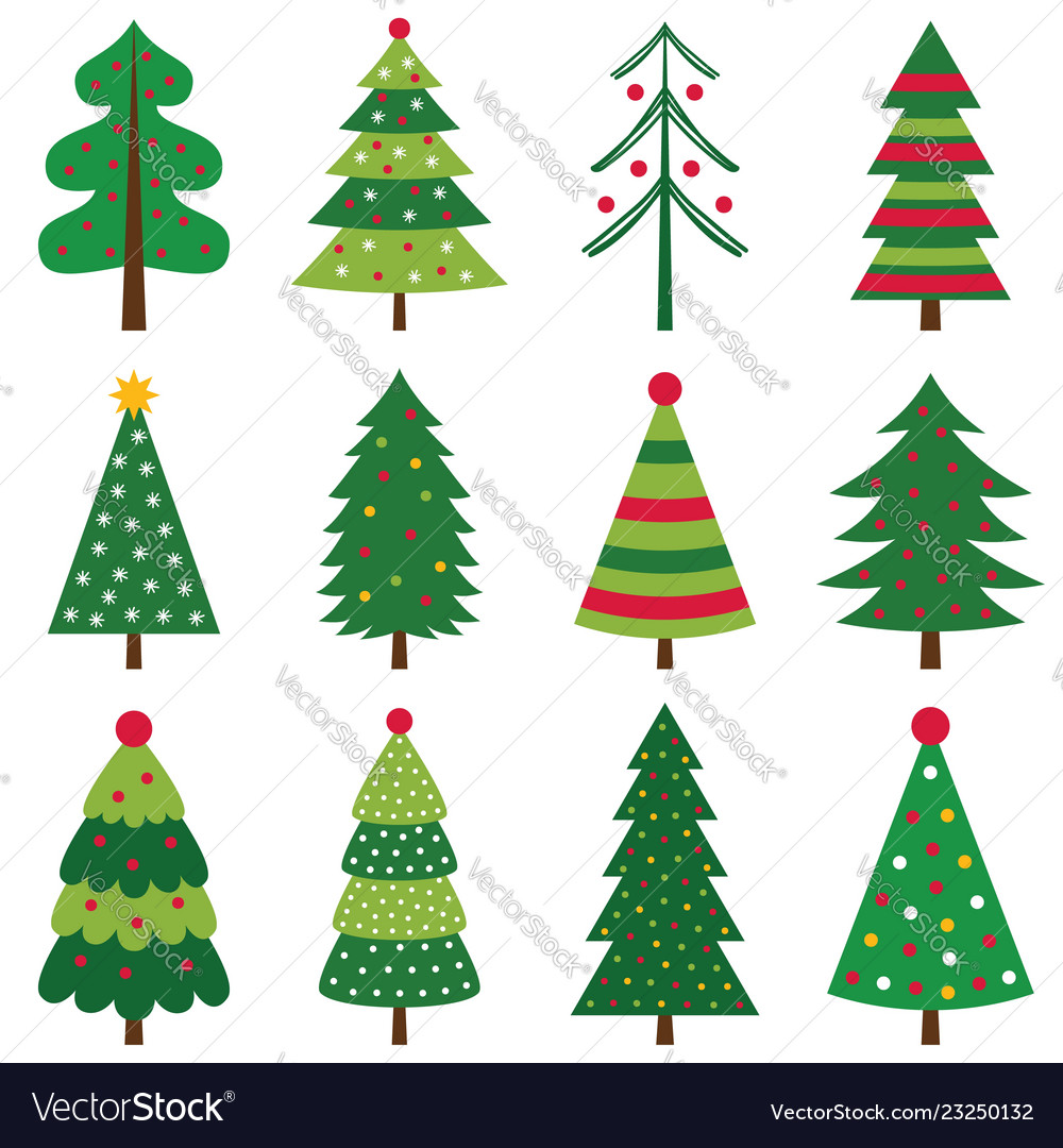 Decorated christmas trees set