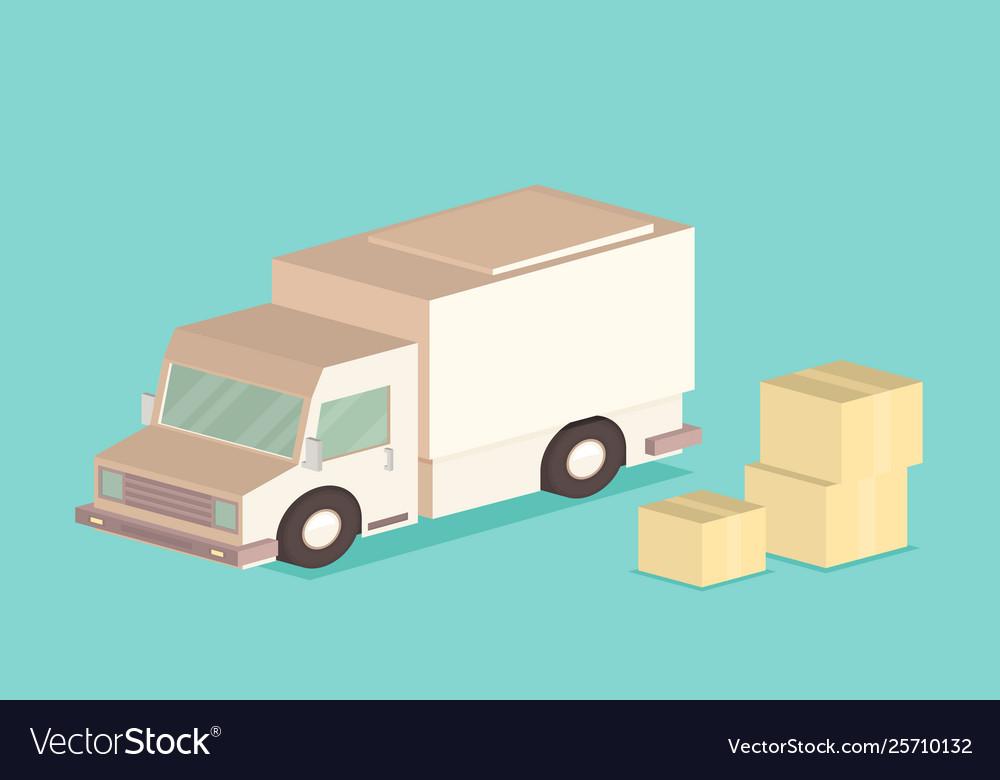 Delivery van and cardboard packaging isometric