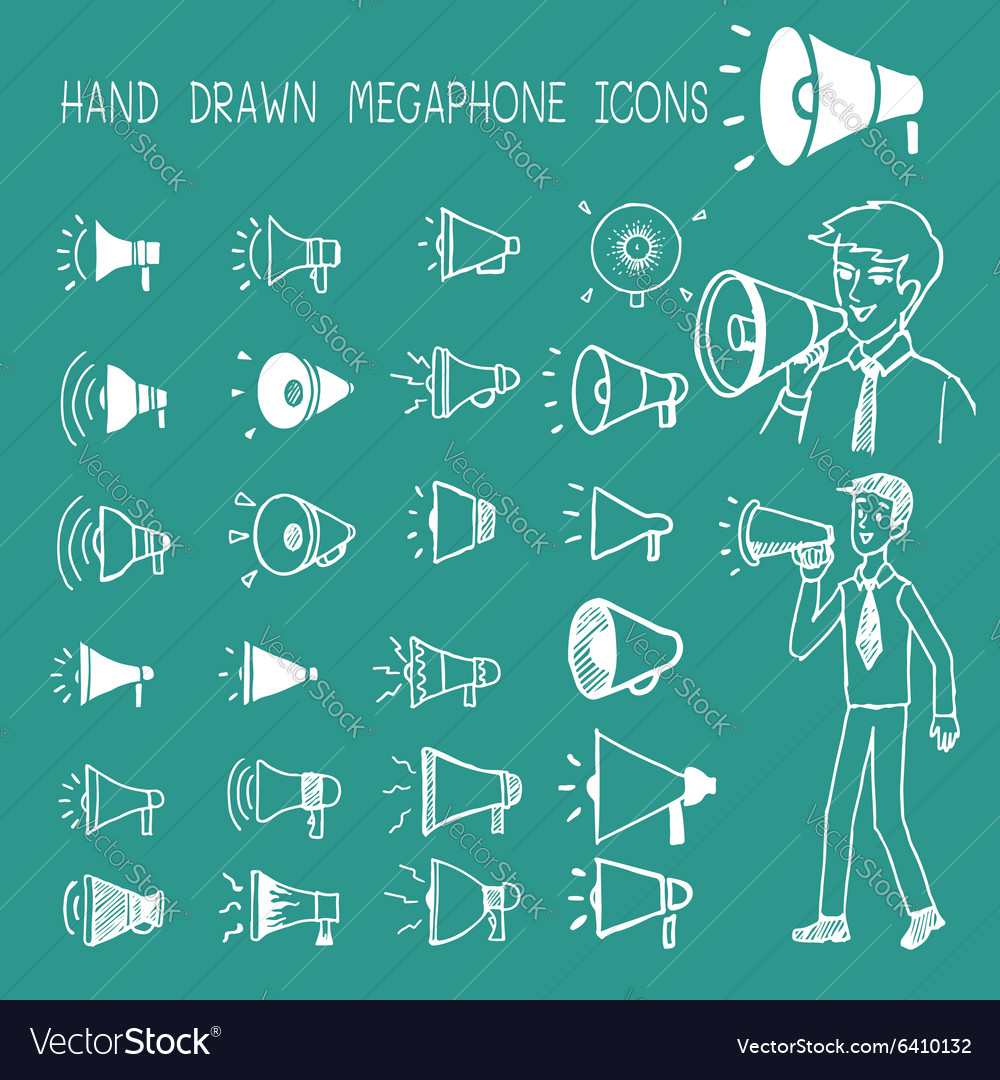 Hand drawn megaphone icons