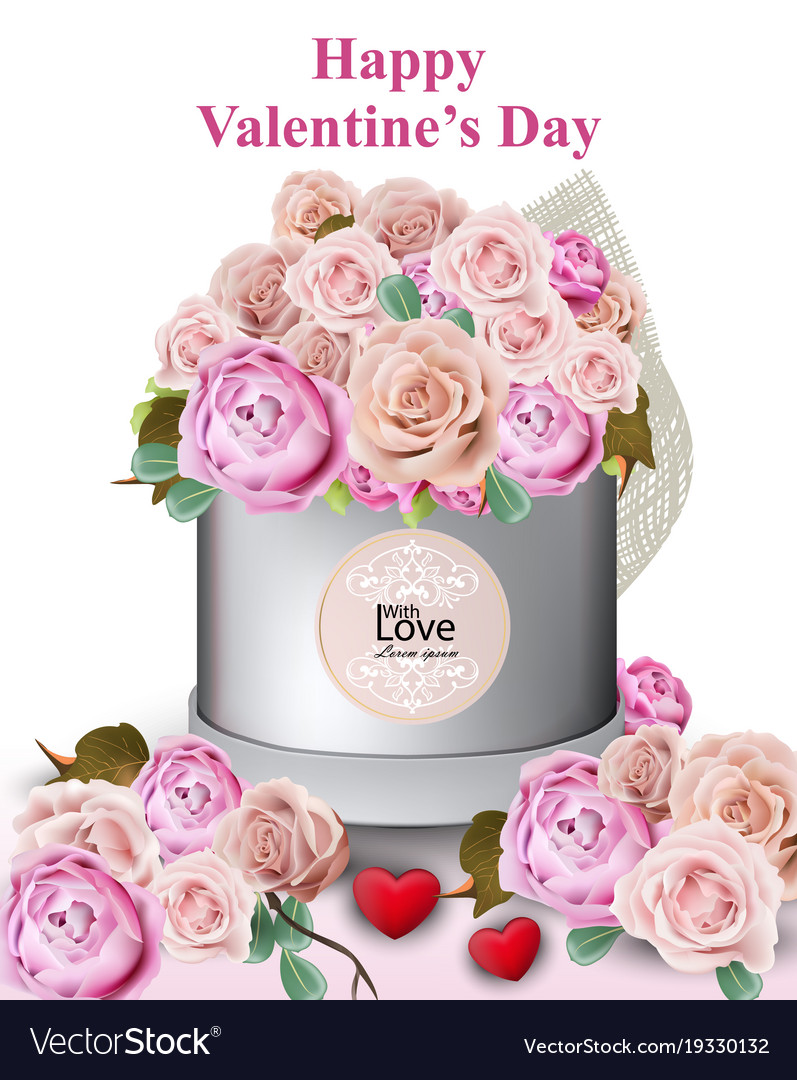 Happy valentine card with peony and roses flowers