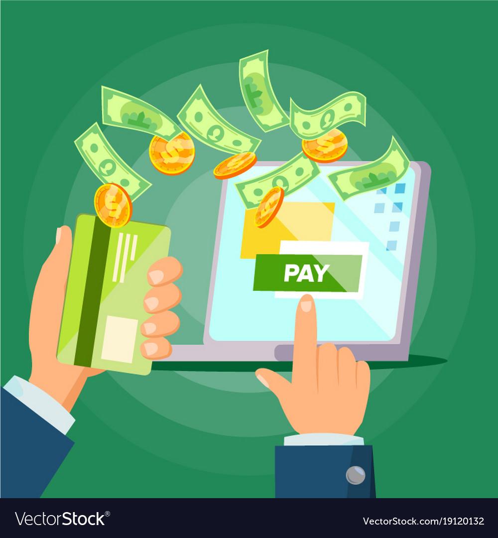 Laptop payment online payments concept vector image