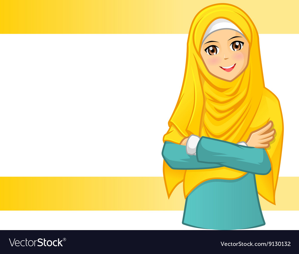Muslim Woman Wearing Yellow Veil with Folded Arms