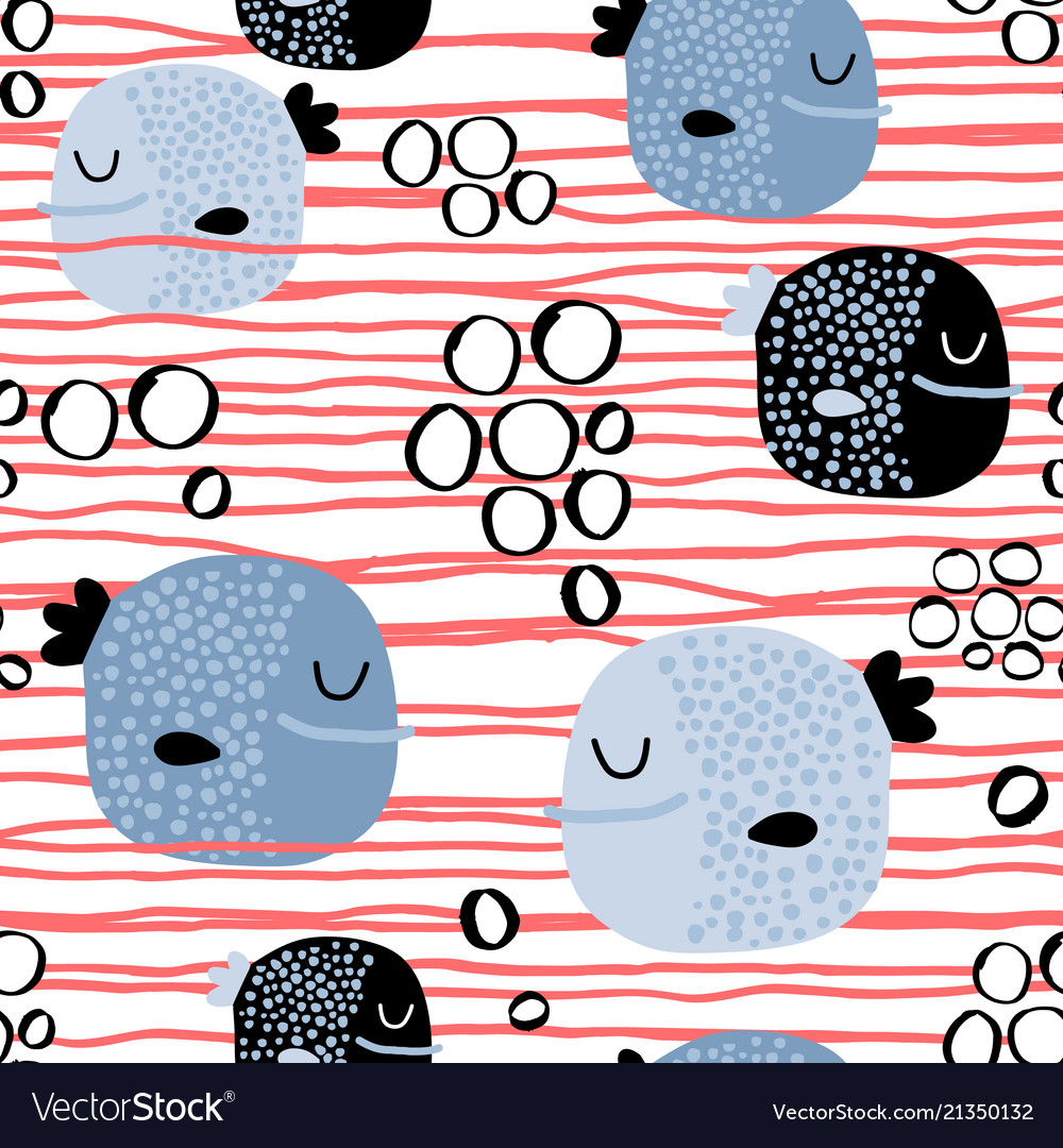 Seamless childish pattern with funny fishcreative