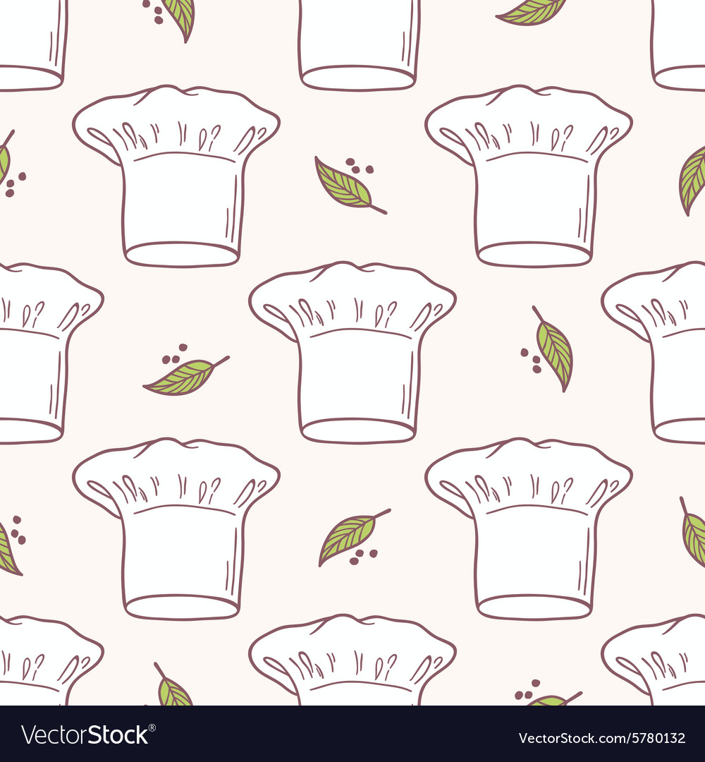Seamless pattern with hand drawn chef hat Kitchen