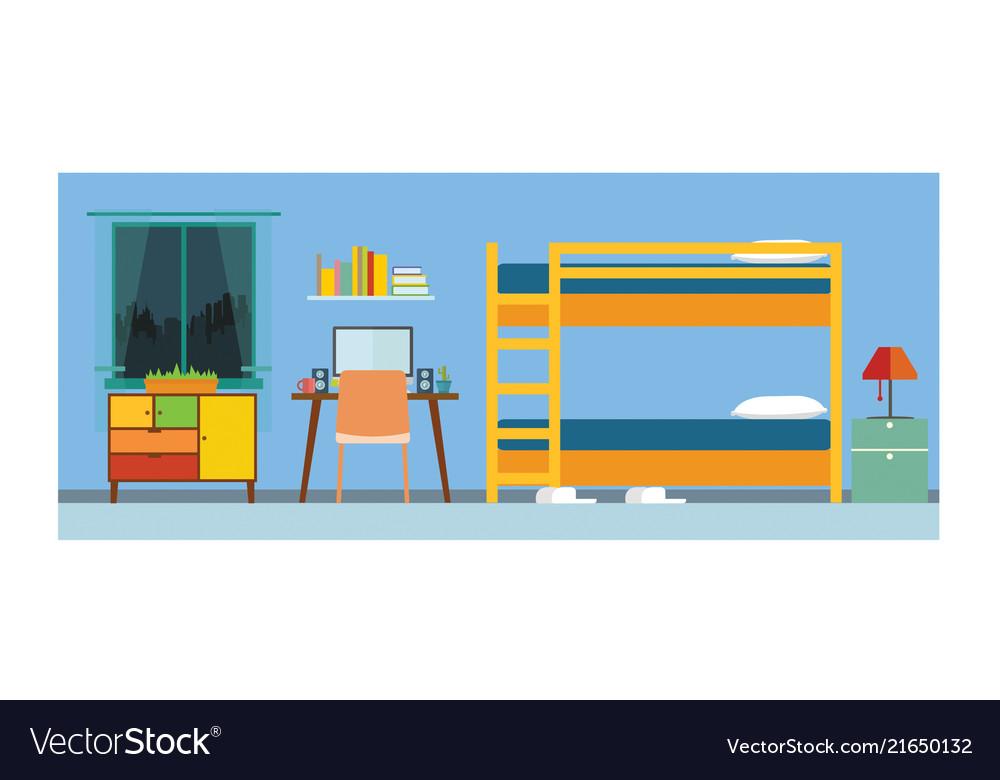 Small apartment bedroom interior