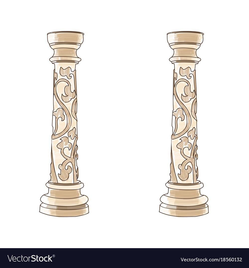 Stylized greek doodle column doric ionic