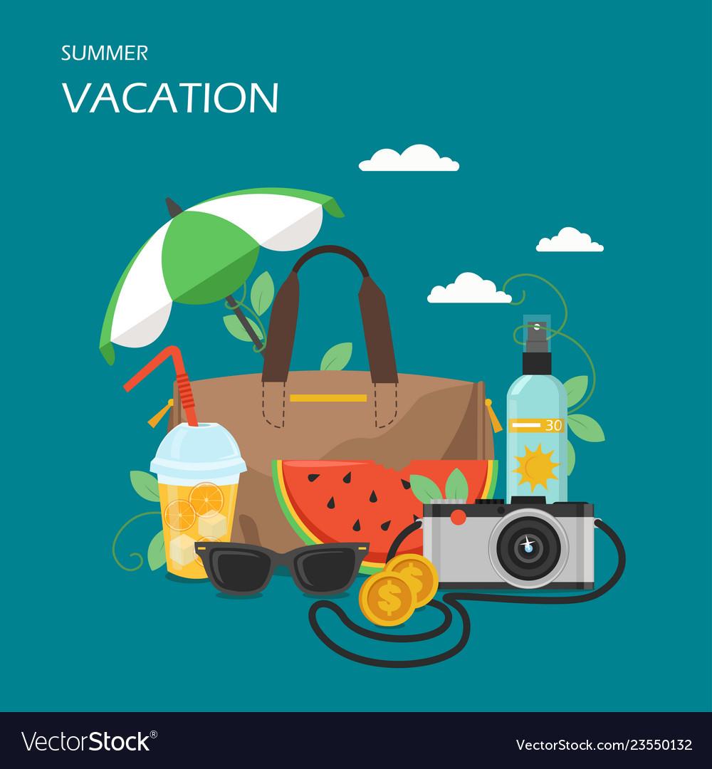 Summer vacation flat style design