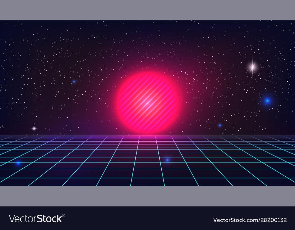 synthwave sunset backround retro futuristic pink vector 28200132