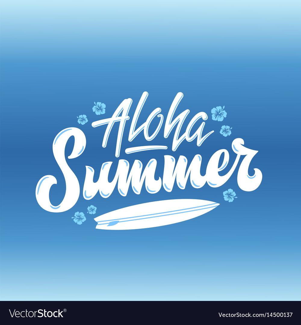 Aloha summer surfing abstract hand