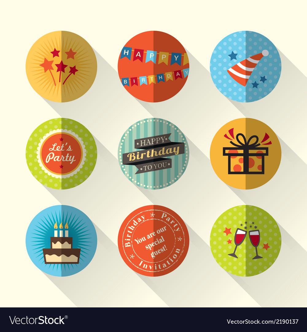Birthday party flat icon set