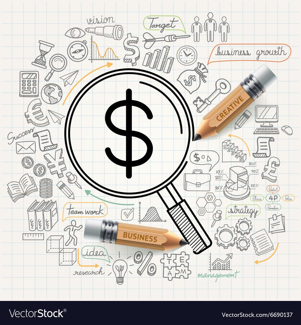 Business concept doodles icons set vector image