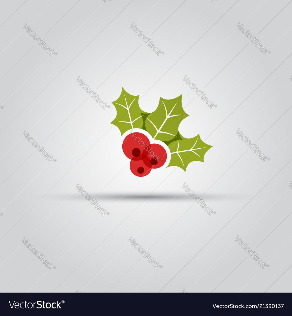 Christmas berries isolated colored icon