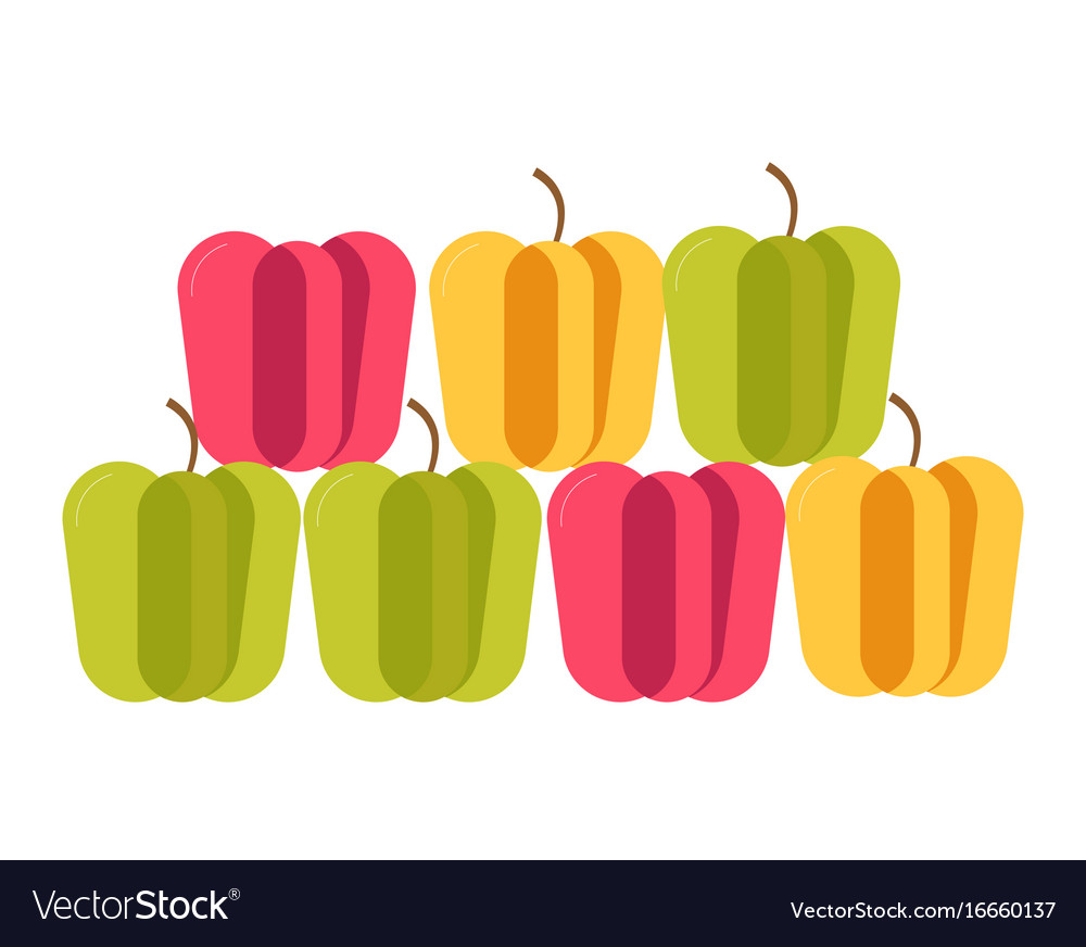 Colorful sweet bulgarian peppers stand in neat