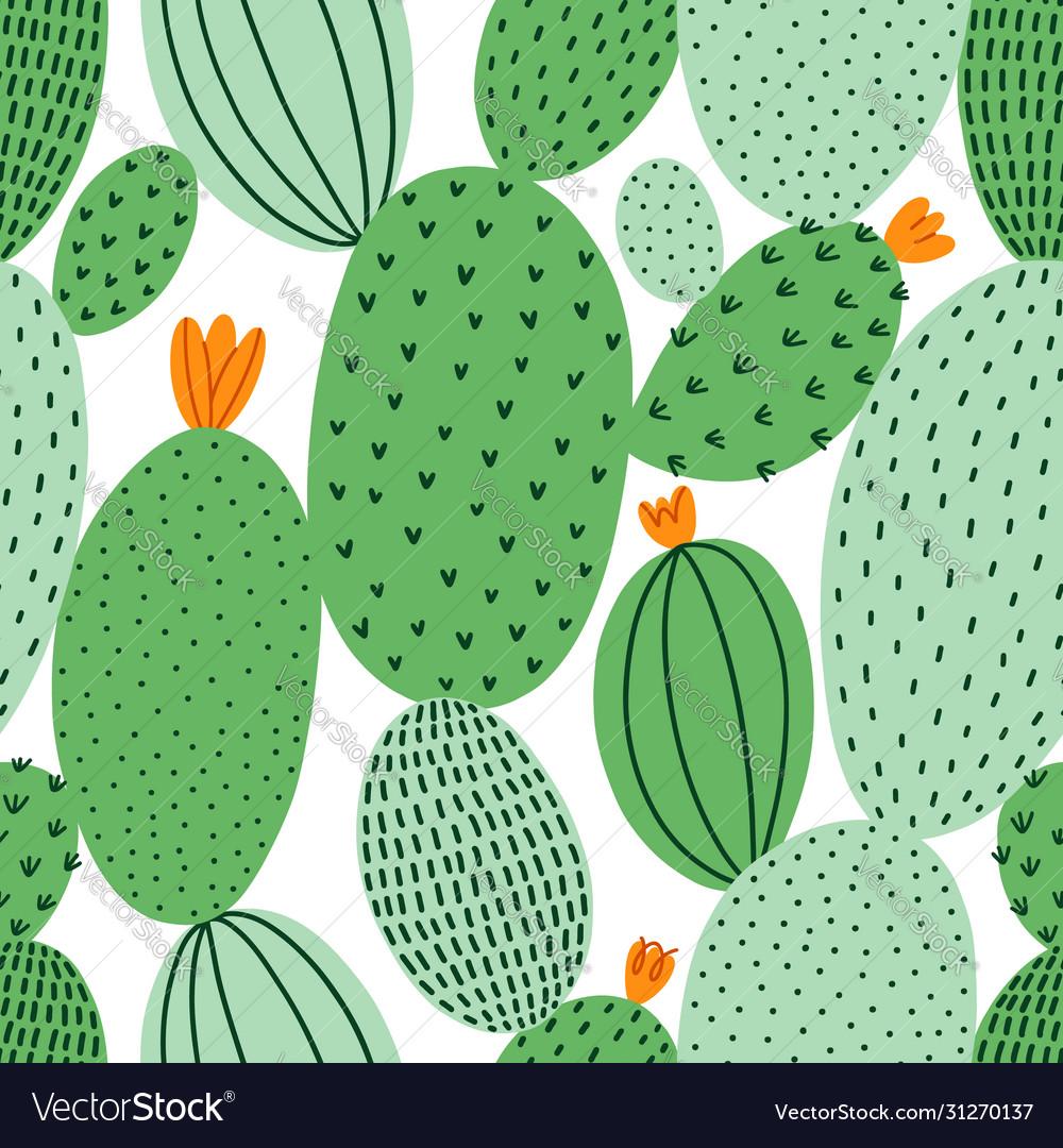 Green doodle cactus seamless pattern
