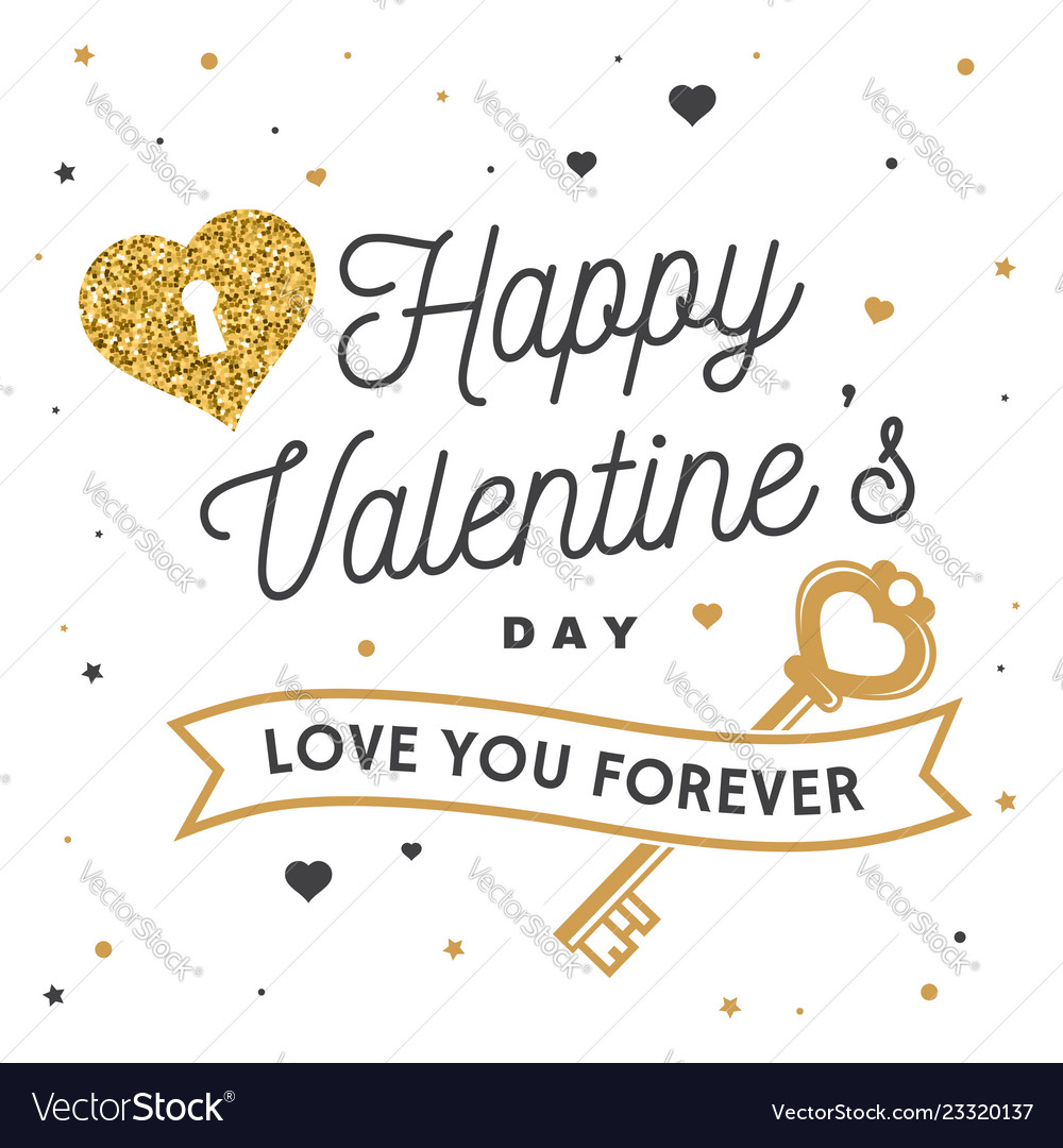 Happy valentines day stamp badge card with key