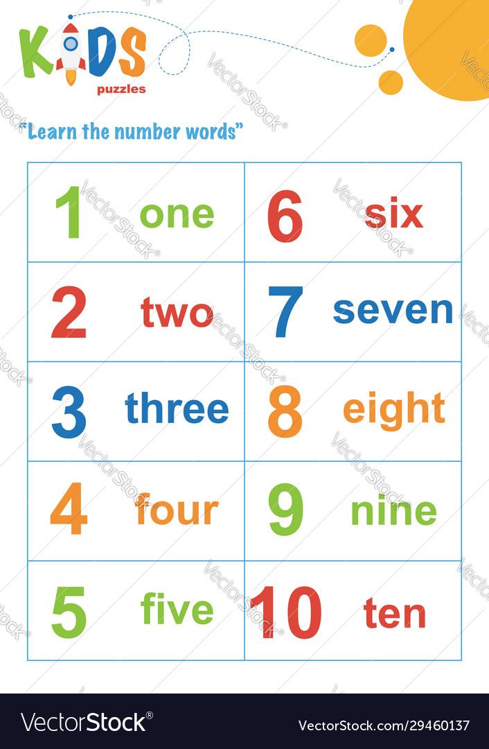 Learning Numbers Worksheet Math Worksheet Easy Vector Image