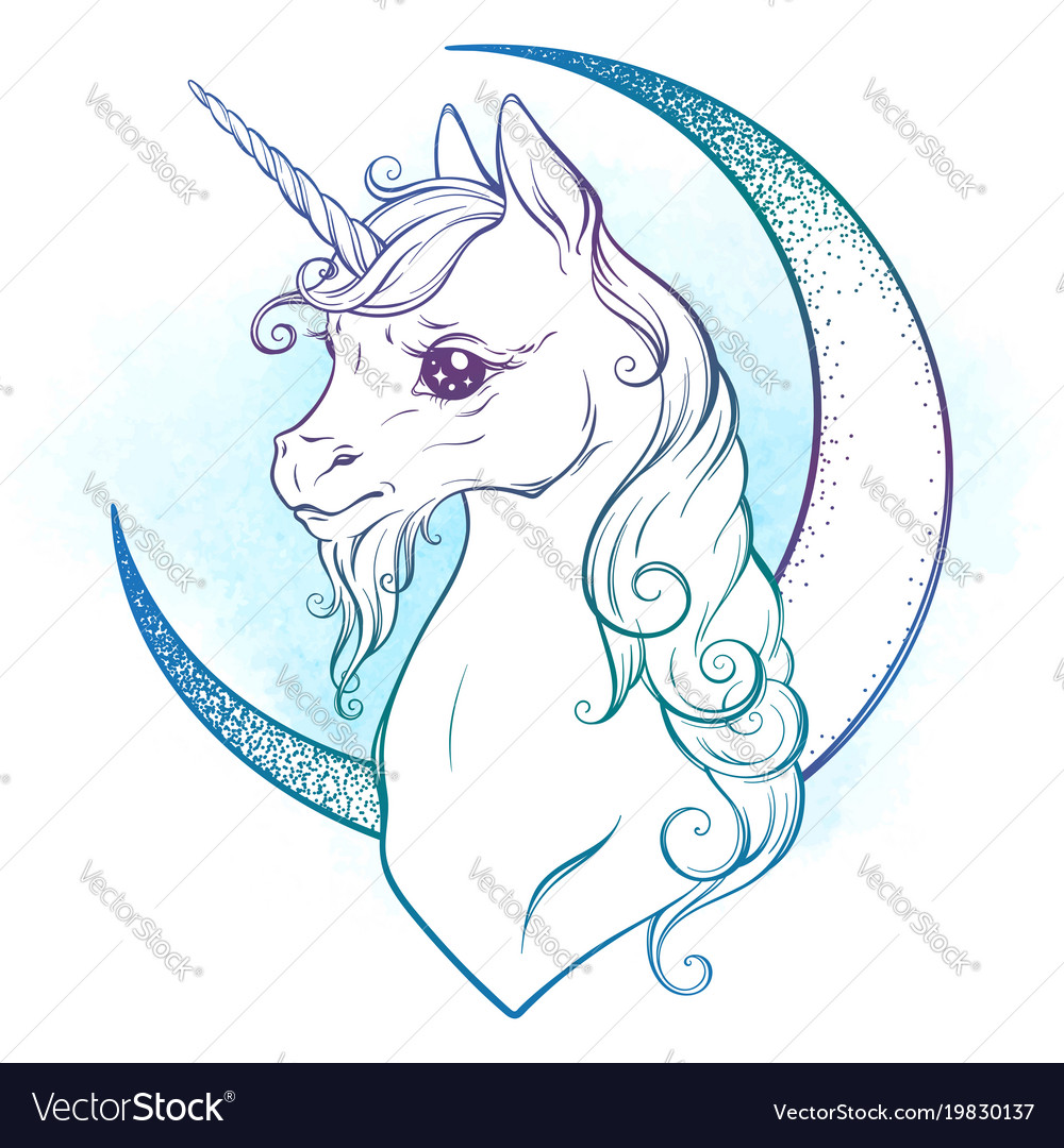 Little unicorn and crescent moon in pastel colors