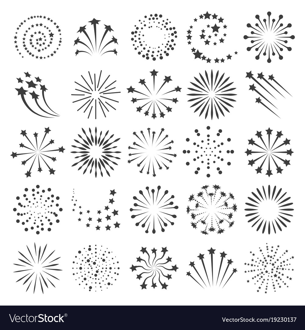 New year fireworks icons