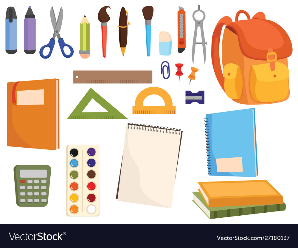 Set accessories for school collection of