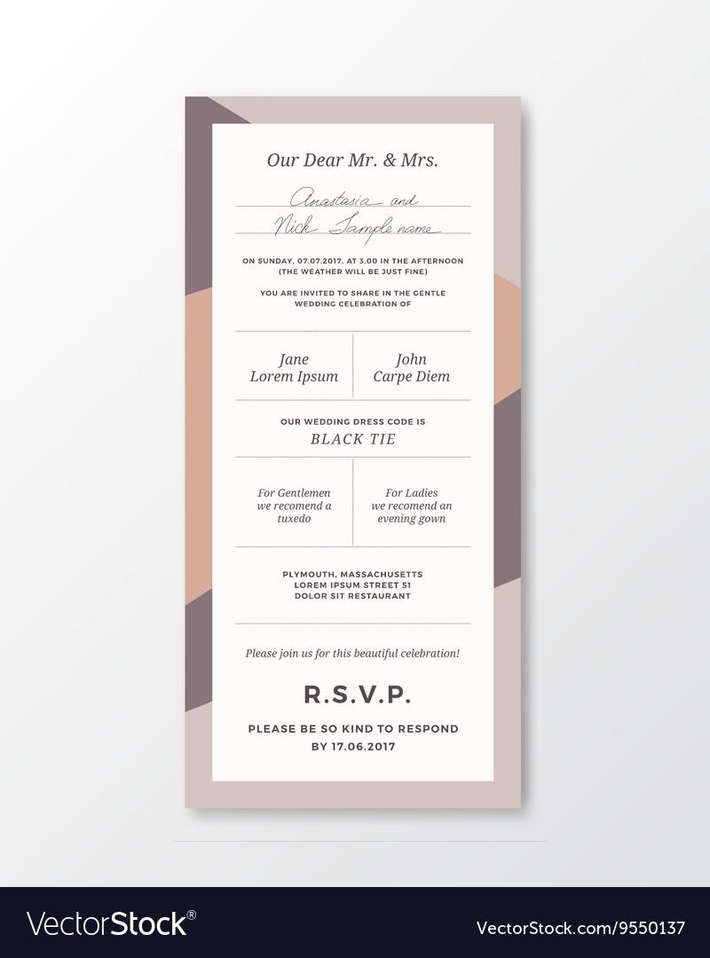 Wedding Invitation Template Modern Vector Image