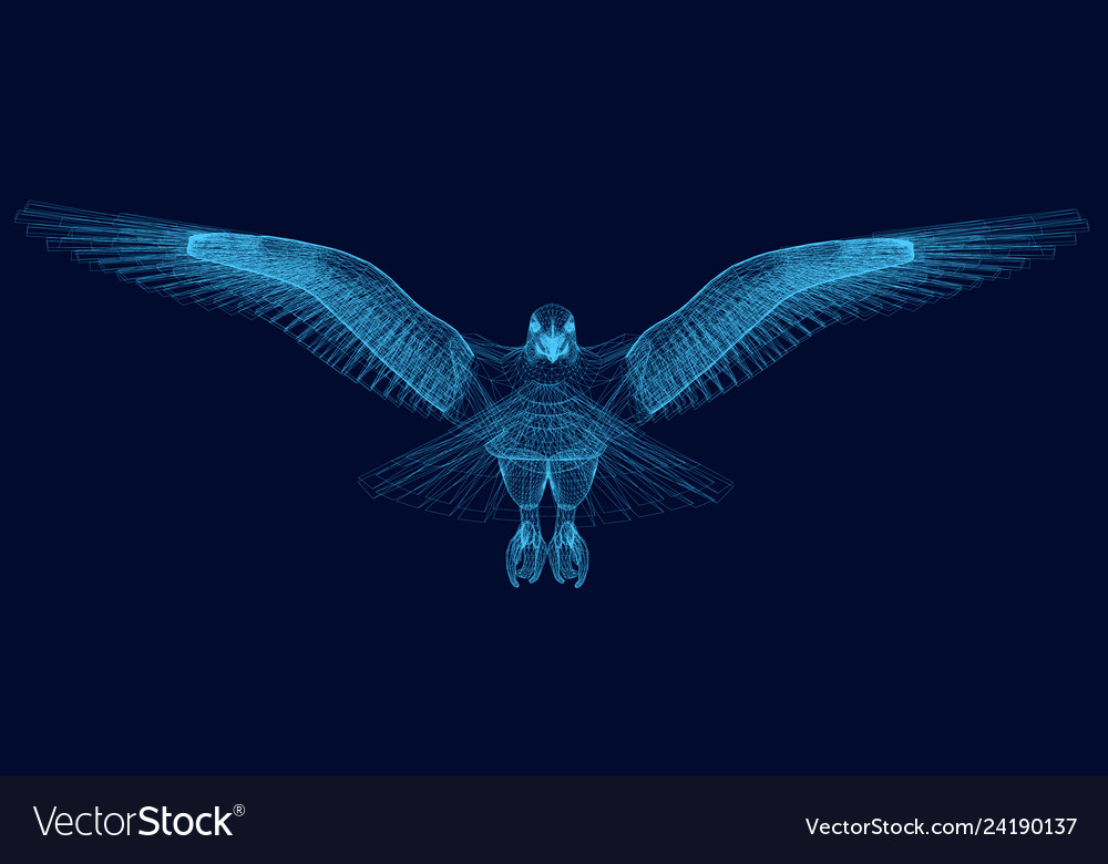 Wireframe of an eagle has spread its wings 3d