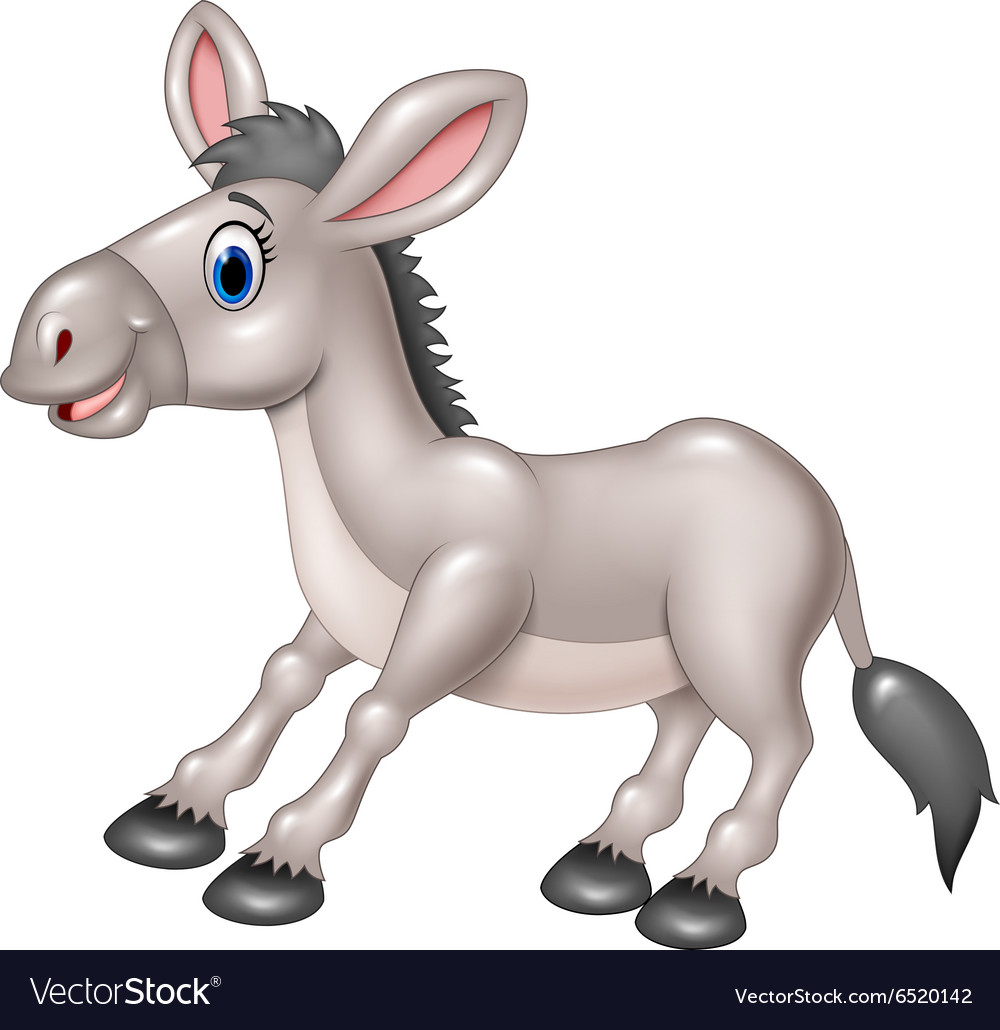 Cartoon happy donkey isolated
