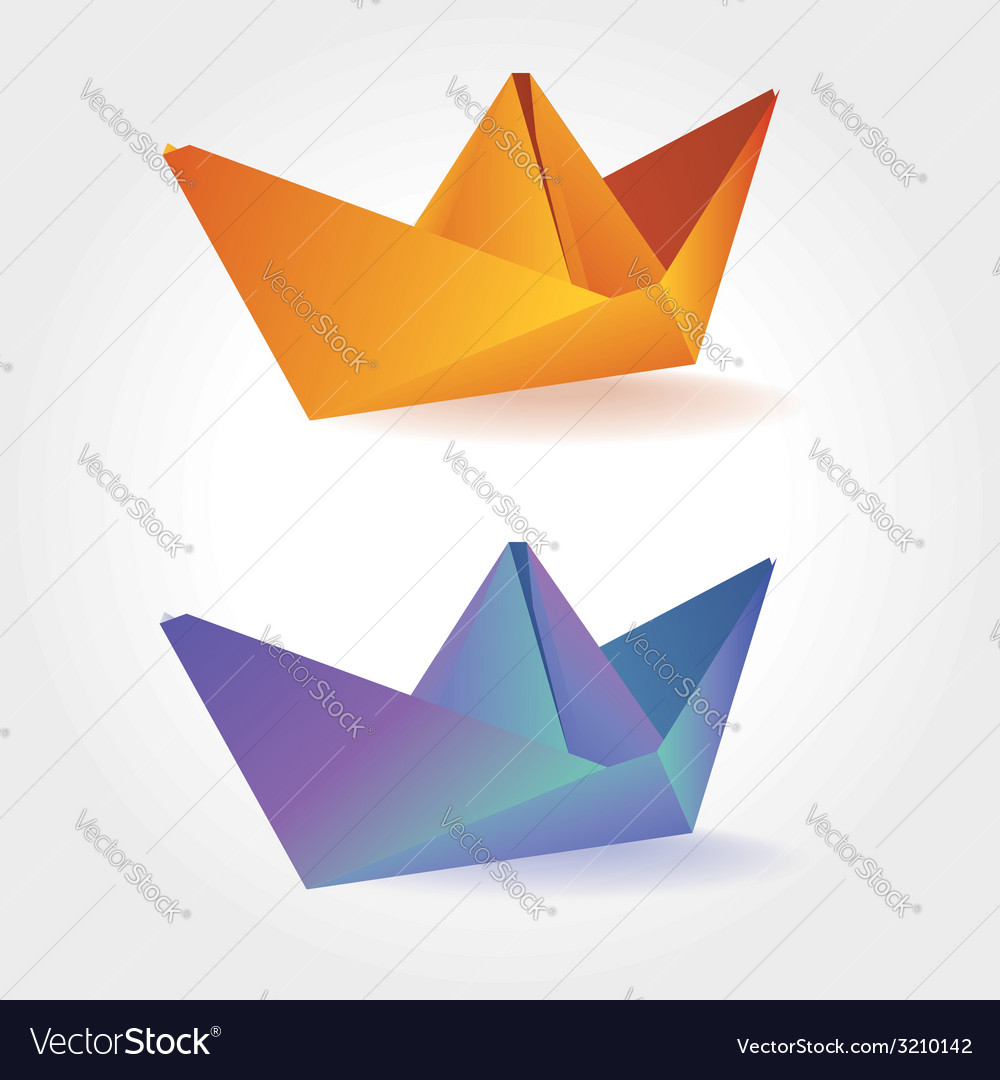 Colorful paper boats vector image
