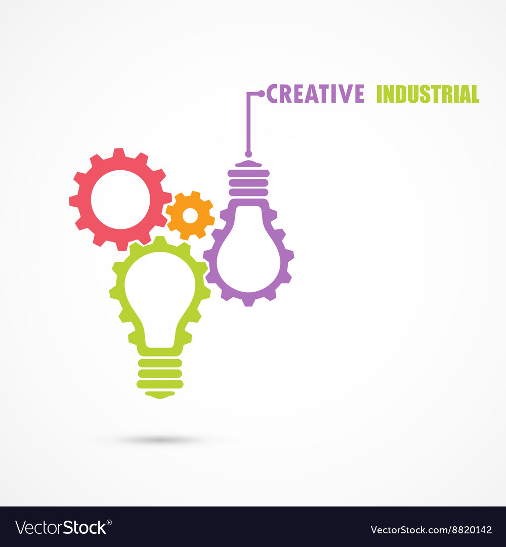 Creative light bulb and gear abstract design