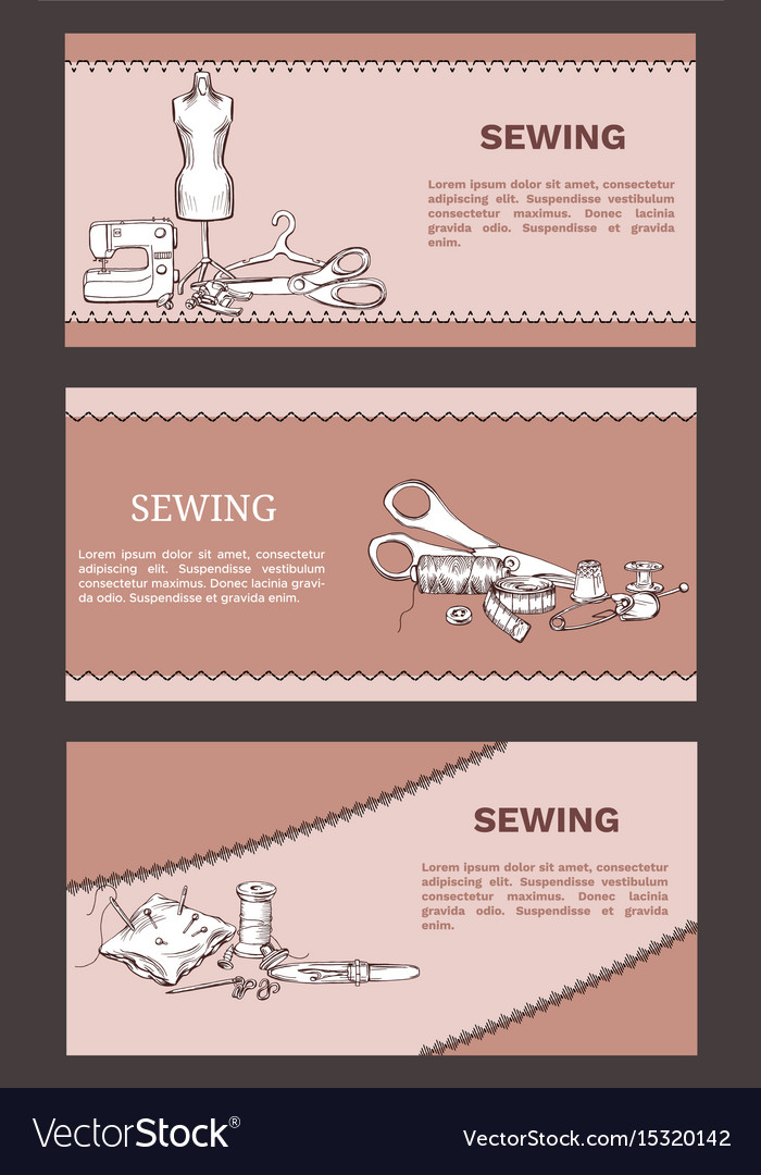 Hand drawn tailoring horizontal banners