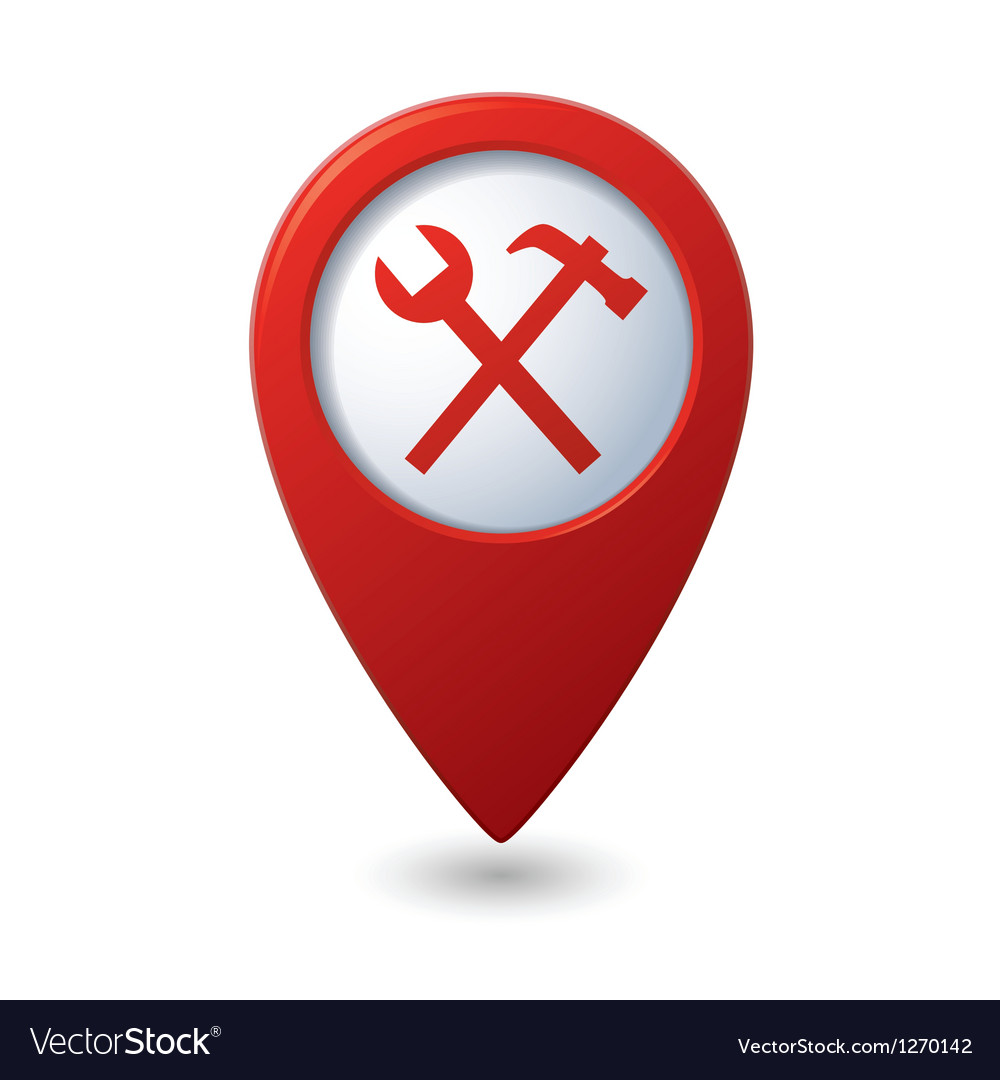 Map pointer with tools icon