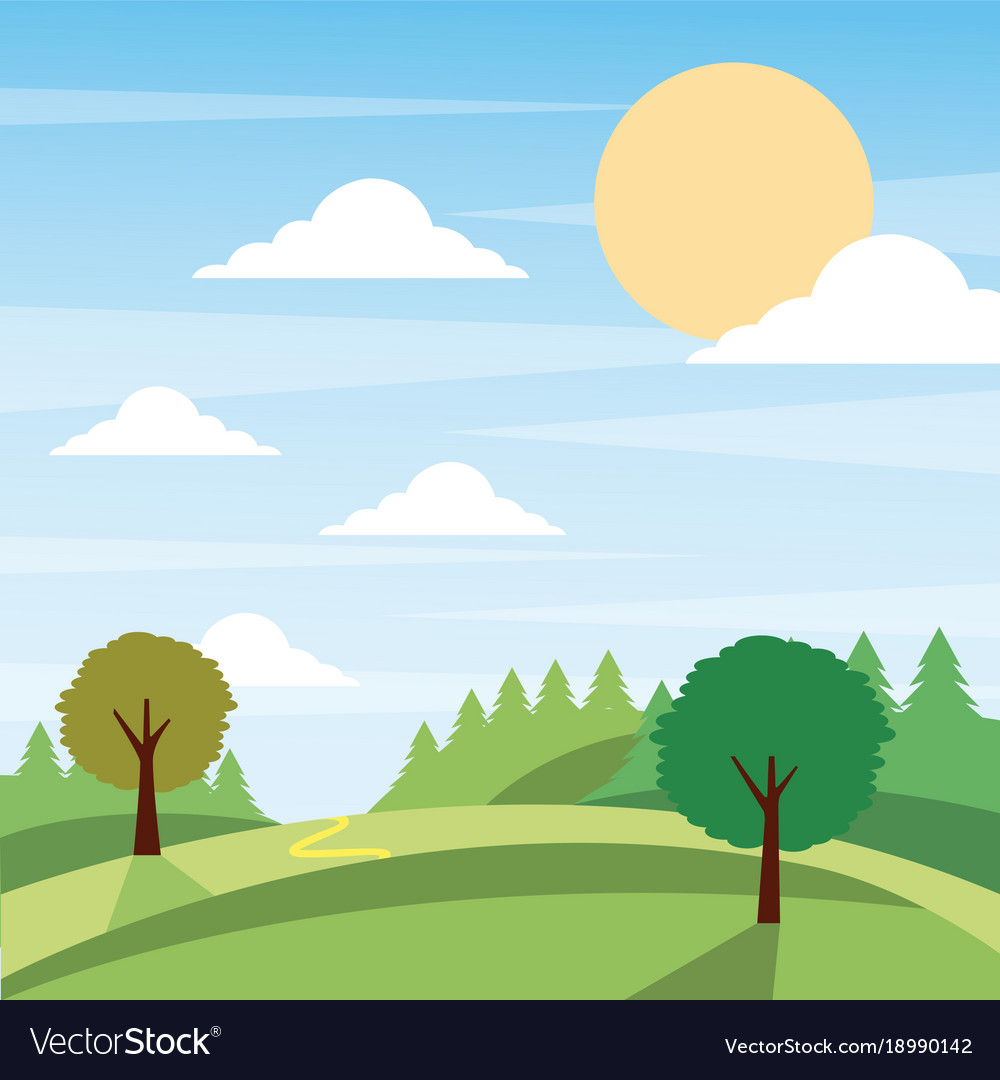 Sunny nature landscape with trees and meadow cloud