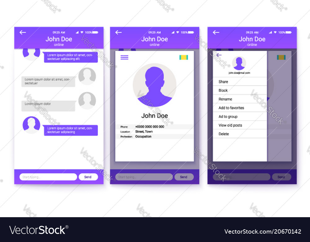 Ui kit of mobile app page of profile and sidebar