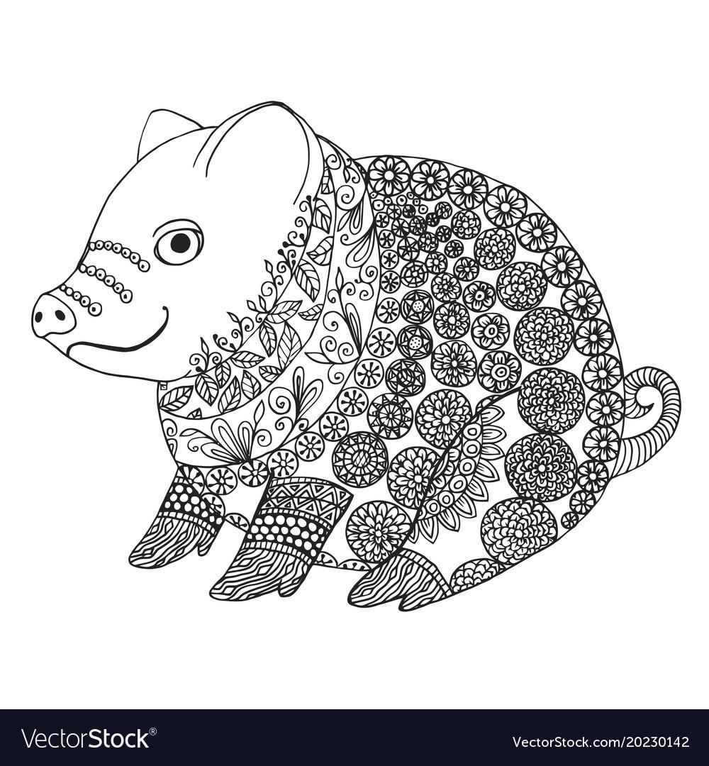 zentangle with pig zen tangle or doodle piglet vector image