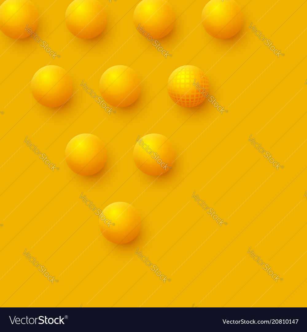Abstract spheres background 3d yellow balls