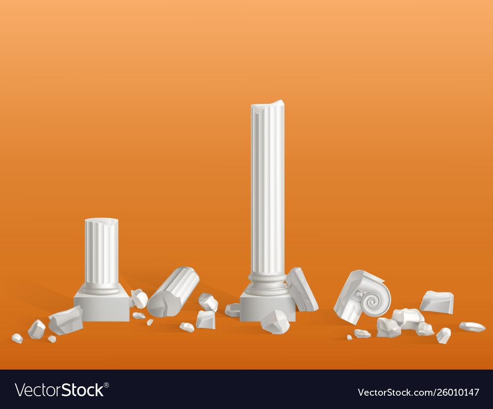 Broken on pieces ancient marble columns