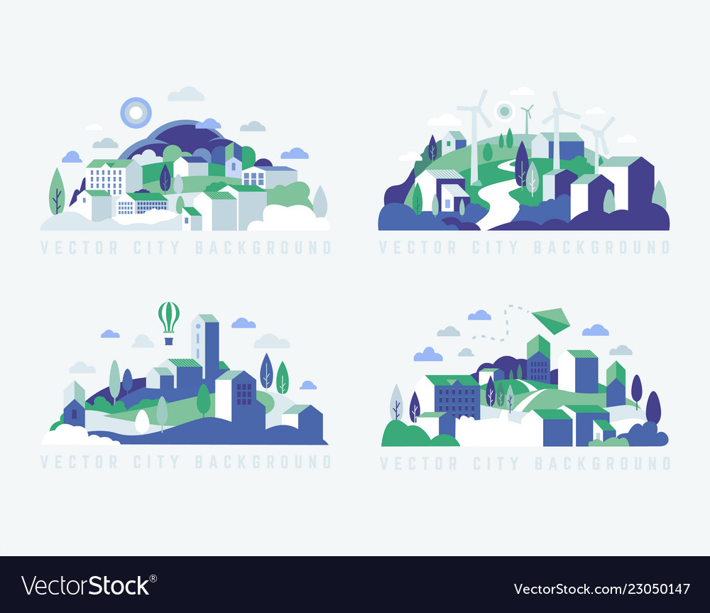 City landscape with buildings hills and trees