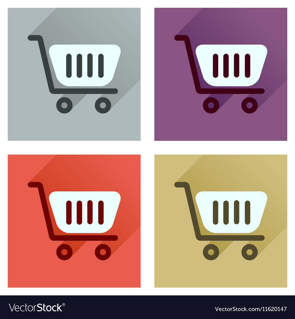 Concept of flat icons with long shadow shopping