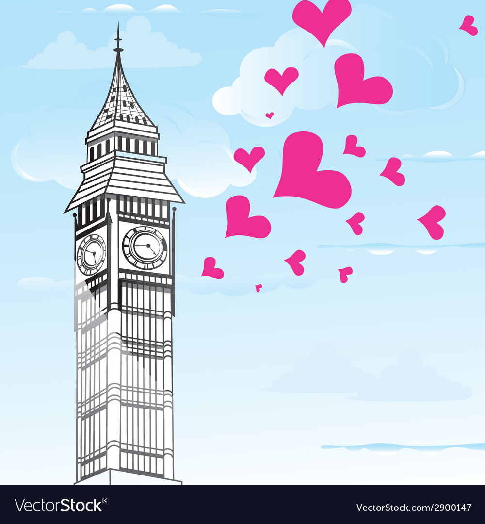 I love You London Poster Design and valentine hear
