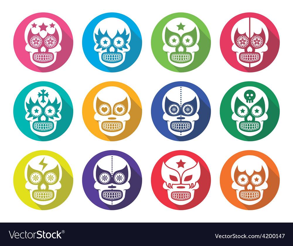 Lucha Libre - Mexican sugar skull flat design